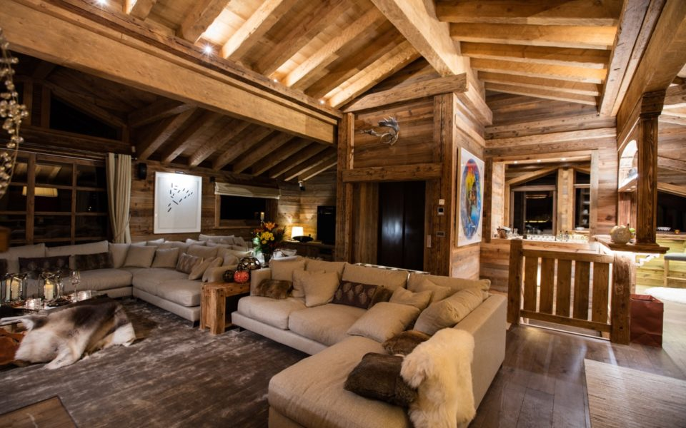 Picture of the living room of the Gentianes chalet