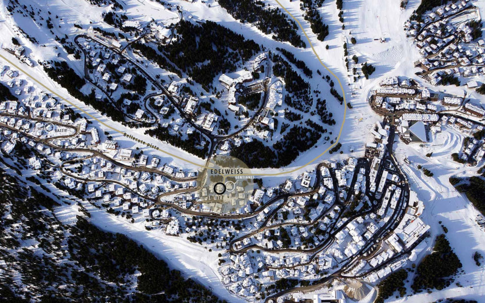 Aerial photograph of the Courchevel ski resort showing the location of the Edelweiss Chalet